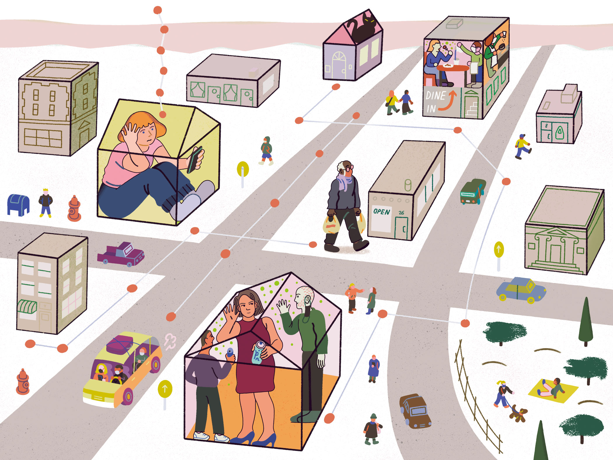 Illustration of individuals in their homes with their cell phones