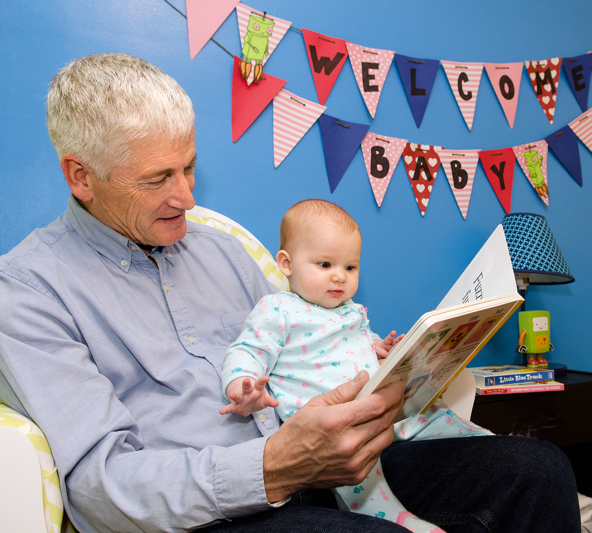 Grandpa and Frankie reading, 2-column