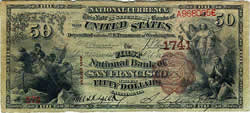 National Bank Note, First National Bank of San Francisco, 1890, $50