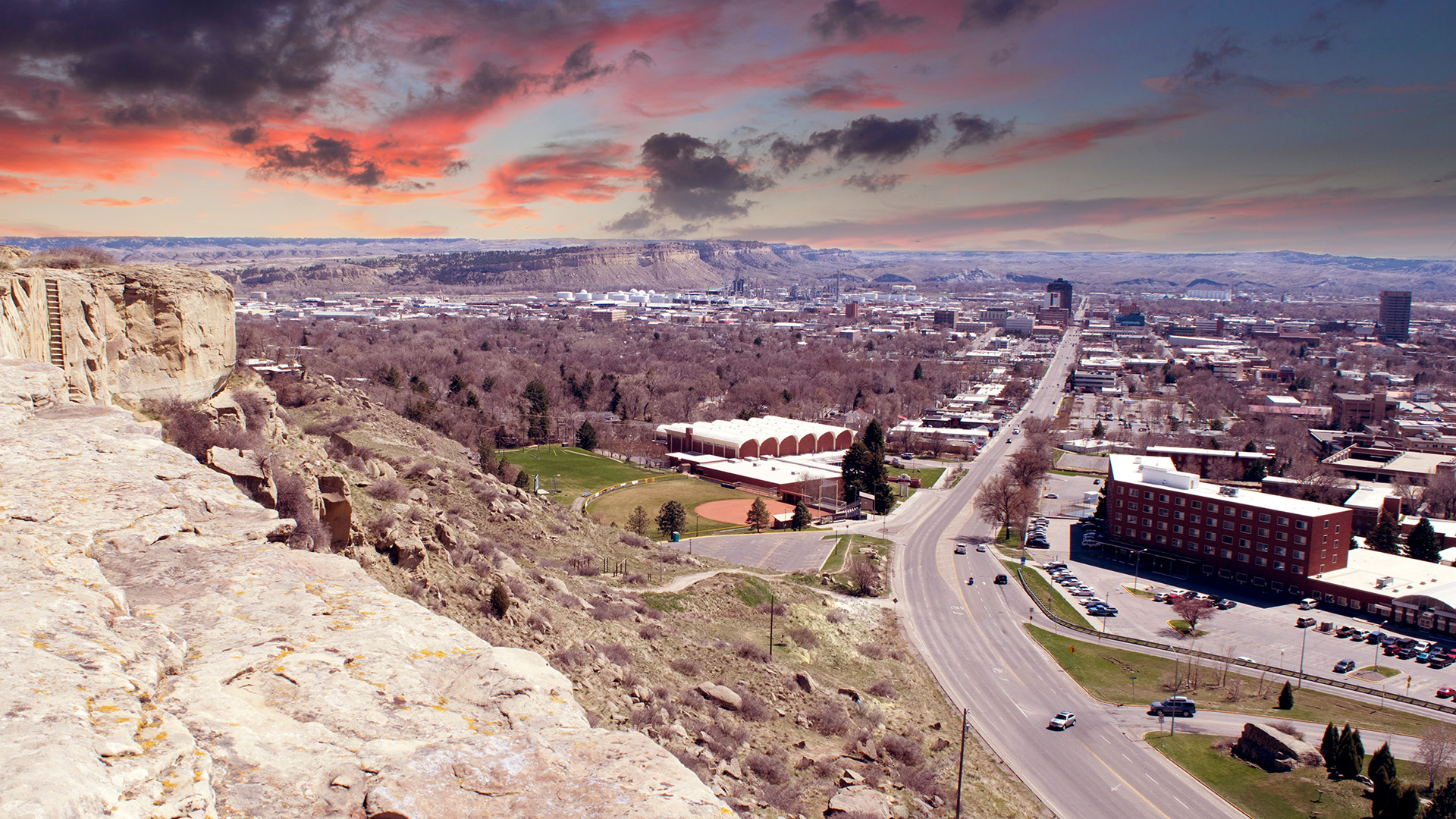Billings view, with rimrock in the foreground