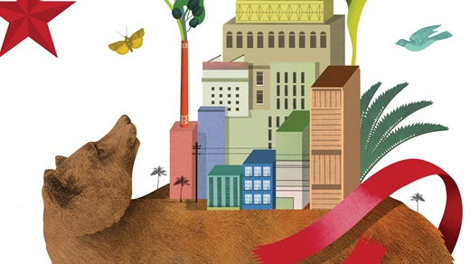 Illustration of California bear with booming economy