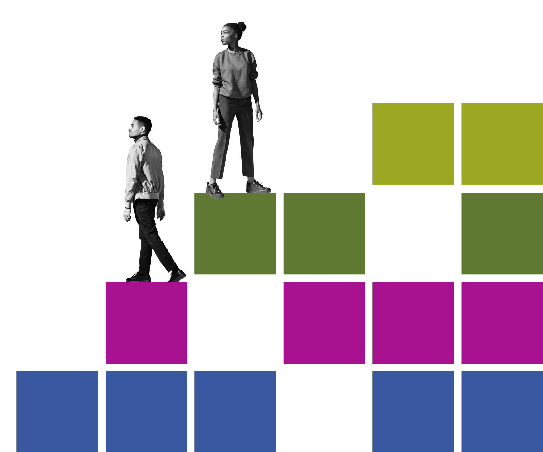Racism and the economy graphic - blue, fuschia, green, and lime blocks with figures on top