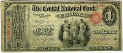 National Bank Note, Central National Bank, Illinois, 1872, $1