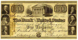 Second Bank of the United States, $1,000 Note