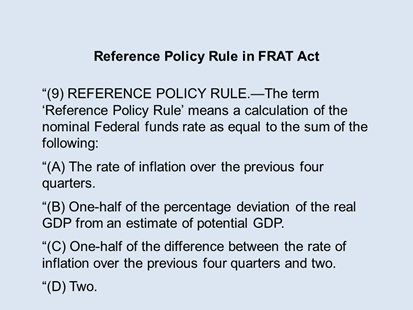 Reference Policy Rule in FRAT Act