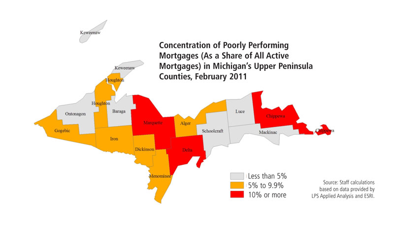 Concentration of Poorly Performing Mortgages in Michigan's UP Counties, February 2011