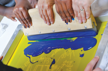 Screen printing is one of many visual arts media taught by Free Arts Minnesota, a Minneapolis-based organization that works with at-risk youth.