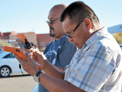 Participants at the National Tribal Geographic Information Support Center's 2012 National Tribal GIS Conference use Global Positioning System devices for field data collection.