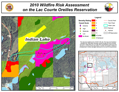 Using GIS (geographic information system) technology, students at Lac Courte Oreilles Ojibwa Community College conducted a fire-risk assessment for the 77,000-acre Lac Courte Oreilles Indian Reservation.
