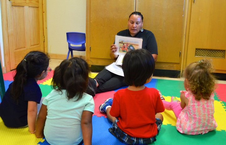 Story time at Lakota Immersion Childcare on the Pine Ridge Indian Reservation in South Dakota.