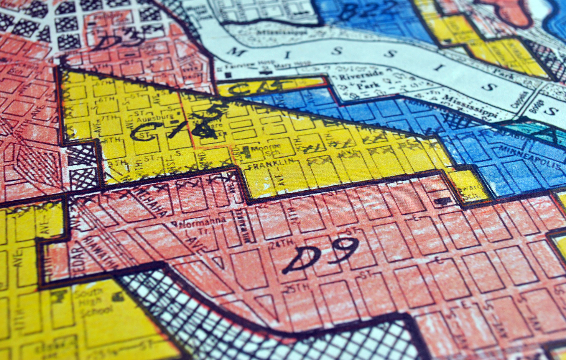 Redlined map of Minneapolis, detail