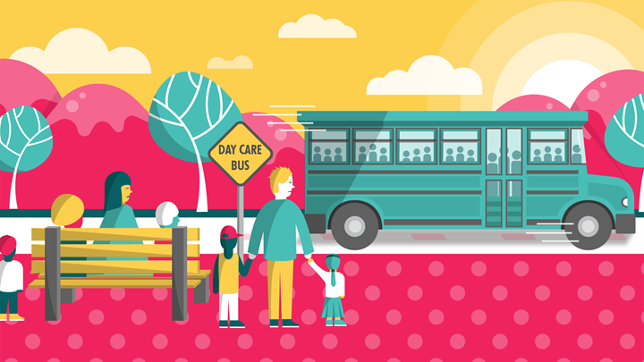 Child Care Development Block Grant, school bus illustration, 3-column image