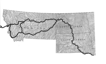 Lewis and Clark route map