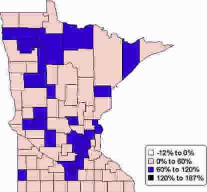 Minnesota Map: Percent Change in Per Capita Personal Income