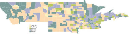 Map: Ninth District Percent Change in Number of Bank Offices, 1990-2003