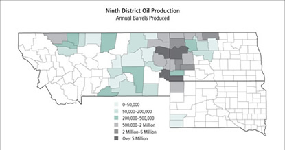 Map: Ninth District Oil Production
