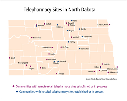 Map: Community and Institutional Pharmacies in North Dakota