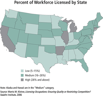 U.S. Map: Percent of Workforce Licensed by State