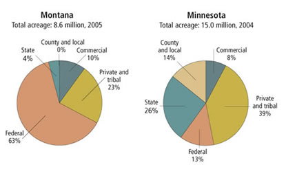 Charts: Timberland Ownership Minnesota and Montana