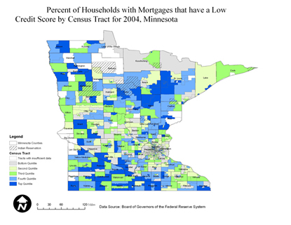 Minnesota Percentage of Households with Mortgages that Have a Low Credit Score by Census Tract, 2004