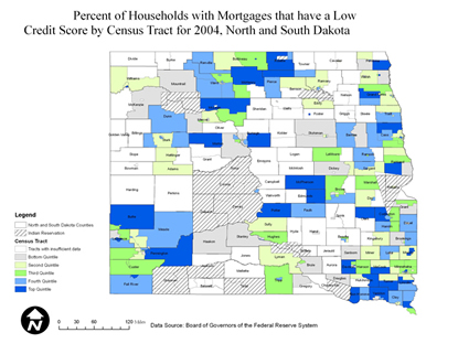 Chart: North and South Dakota Percentage of Households with Mortgages that Have a Low Credit Score by Census Tract, 2004