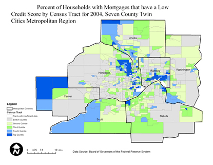 Twin Cities Metro Percentage of Households with Mortgages that Have a Low Credit Score by Census Tract, 2004