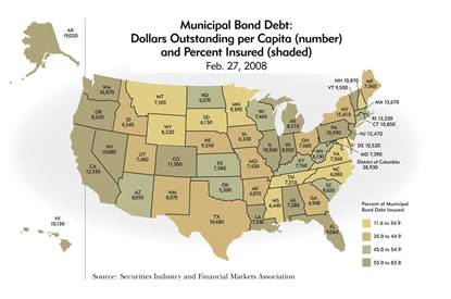 United States Map: Muncicpal Bond Debt