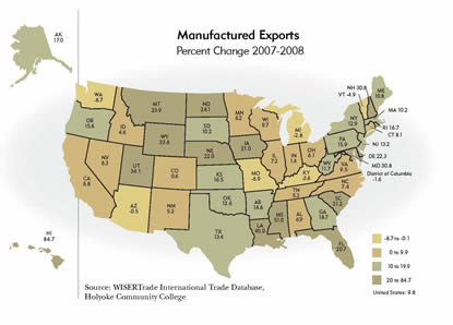 United States Map: Manufactured Exports, Percent Change 2007-2008