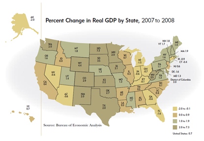 Percent Change in Real GDP by State, 2007 to 2008