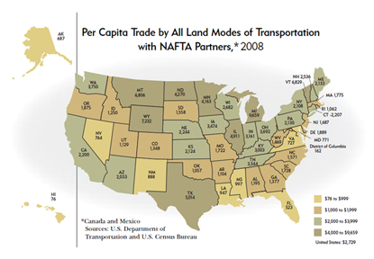 Per Capita Trade by All Land Modes of Transportation with NAFTA Partners, 2008