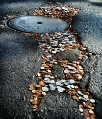 Potholes and coins