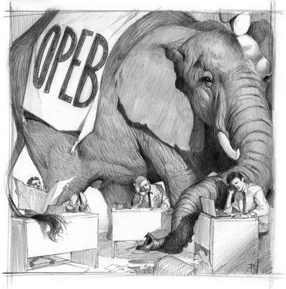 OPEBs: What lies beneath the balance sheet: Illustration by Tyler Jacobson