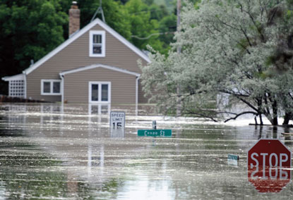 Souris River floodwater in Burlington, N.D.