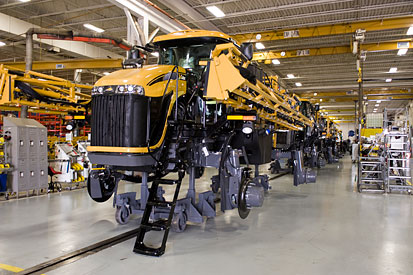 Newly assembled field sprayers lined upfor what at the AGCO plant in Jackson, Minn.