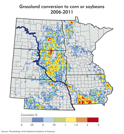 Grassland conversion to corn or soybeans, 2006-2011