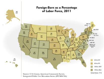 Foreign-Born as a Percentage of Labor Force, 2011