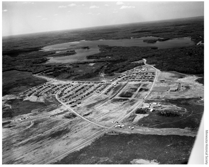 This aerial photo, taken June 15, 1955, by a Minneapolis newspaper photographer, shows the newly founded city of Hoyt Lakes, Minn.