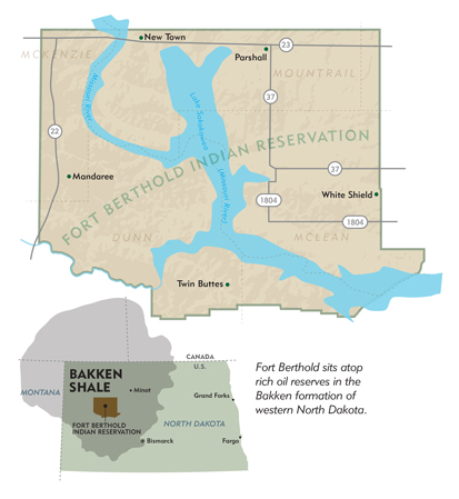 Fort Berthold sits atop rich oil reserves in the Bakken