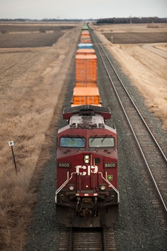 A Canadian Pacific freight train chugs through eastern North Dakota.