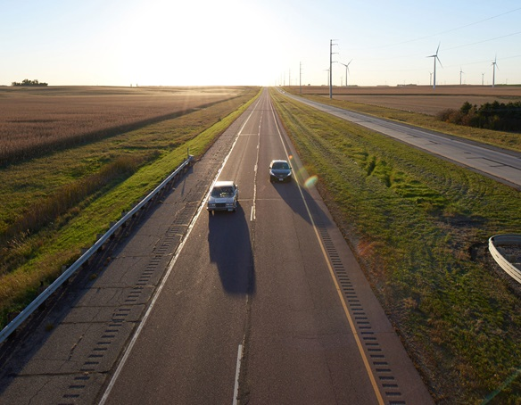 Photo: Interstate Highway 90 looking west—the main commuting route from Sioux Falls to Worthington.