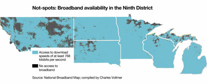 Map 1: Not-spots: Broadband availability in the Ninth District
