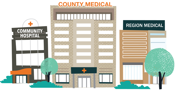 Health insurance concentration building graphic