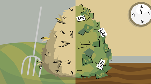 hale bale and money pile graphic