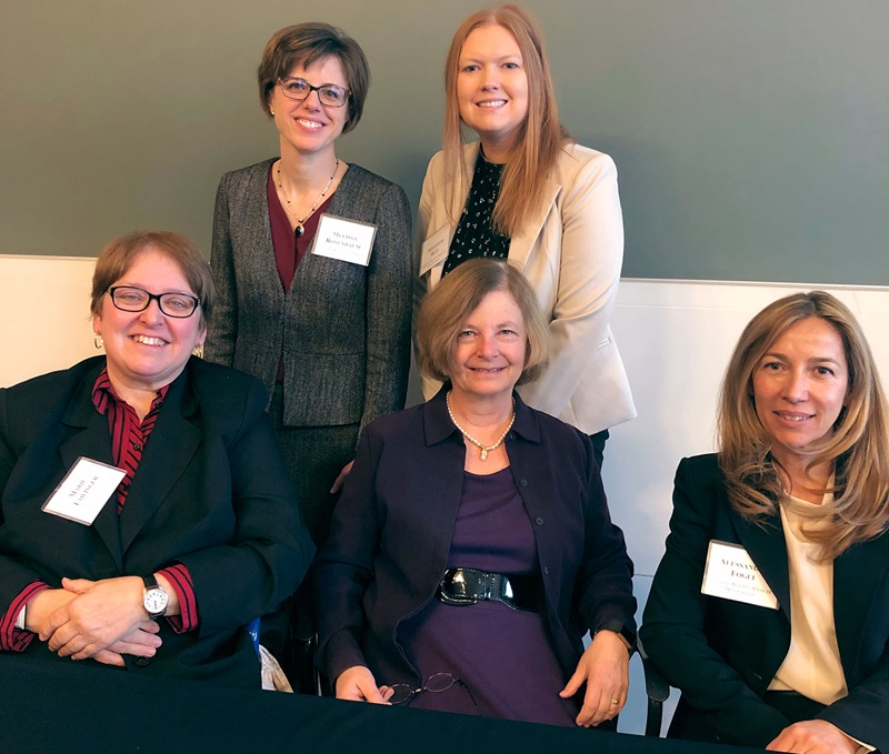 Photo of Minneapolis Fed senior counsel Melissa Rosenbaum and attorney Meredith Blee (standing) and presenters Marie Failinger, June Carbone, and Alessandra Fogli (L-R)