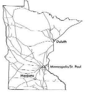 Map Minnesota Railroads