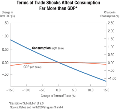 Chart: Terms of Trade Shocks Affect Consumption Far More than GDP