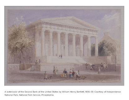 Watercolor of the Second Bank of the United States